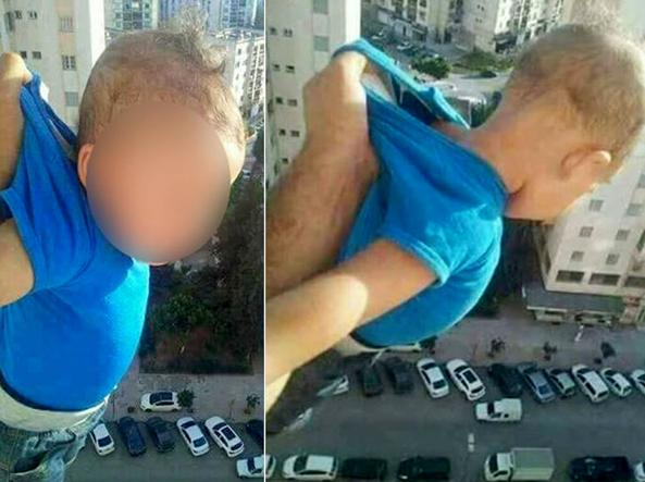 bimbo appeso al 15° piano in algeria