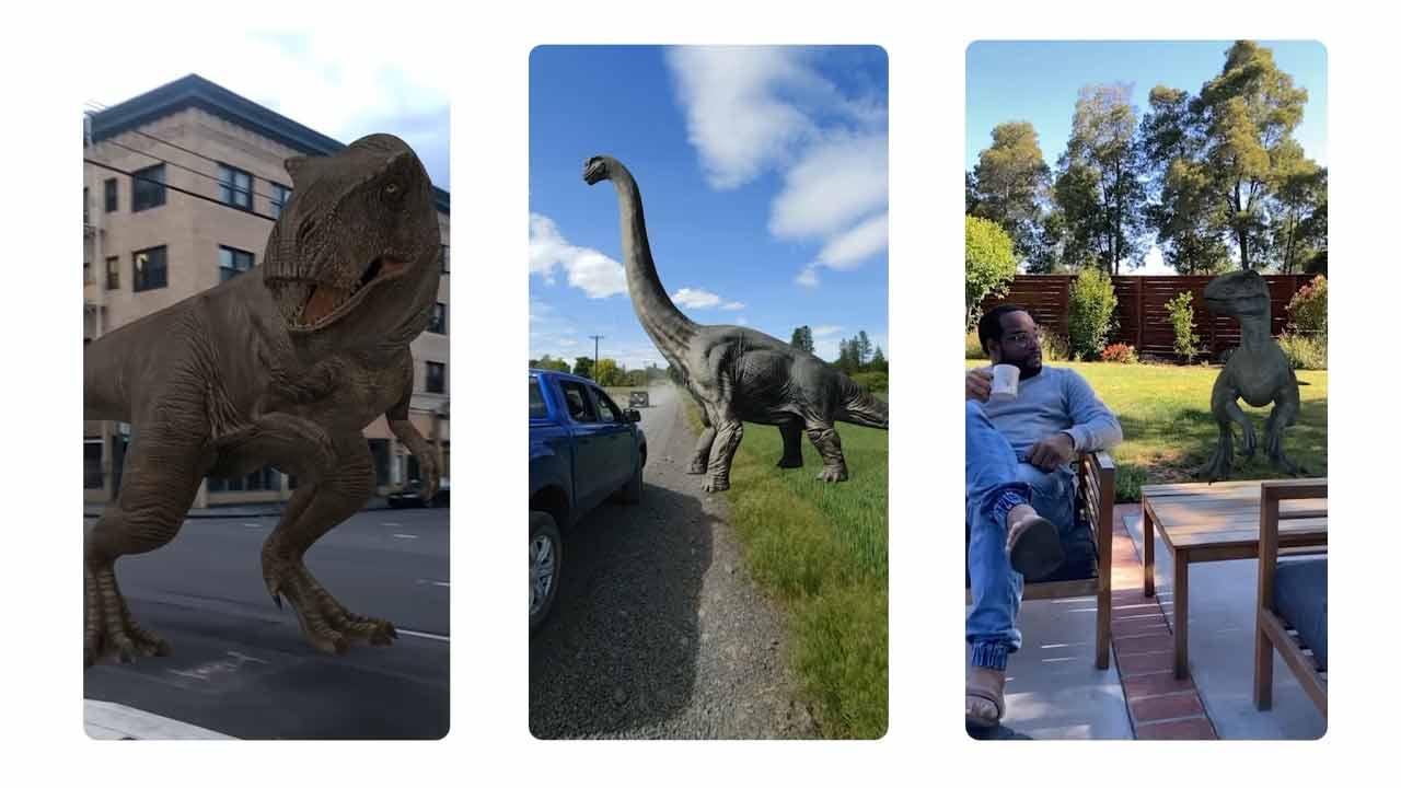"""""""Hey Google, mostrami un dinosauro a grandezza naturale in giardino"""""""