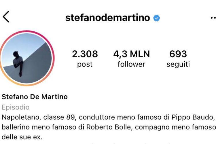 stefano de martino nuova bio instagram