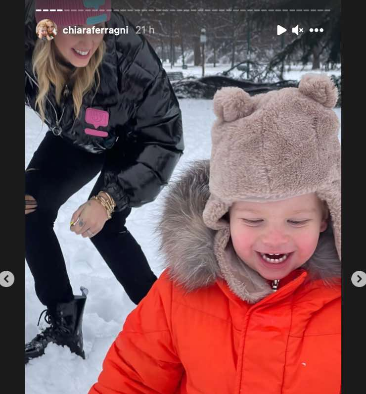 Chiara Ferragni sulla neve