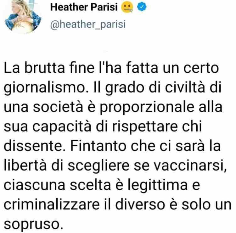 Heather Parisi vaccino tweet