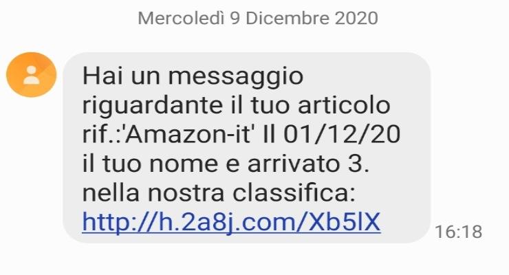 Amazon truffa SMS