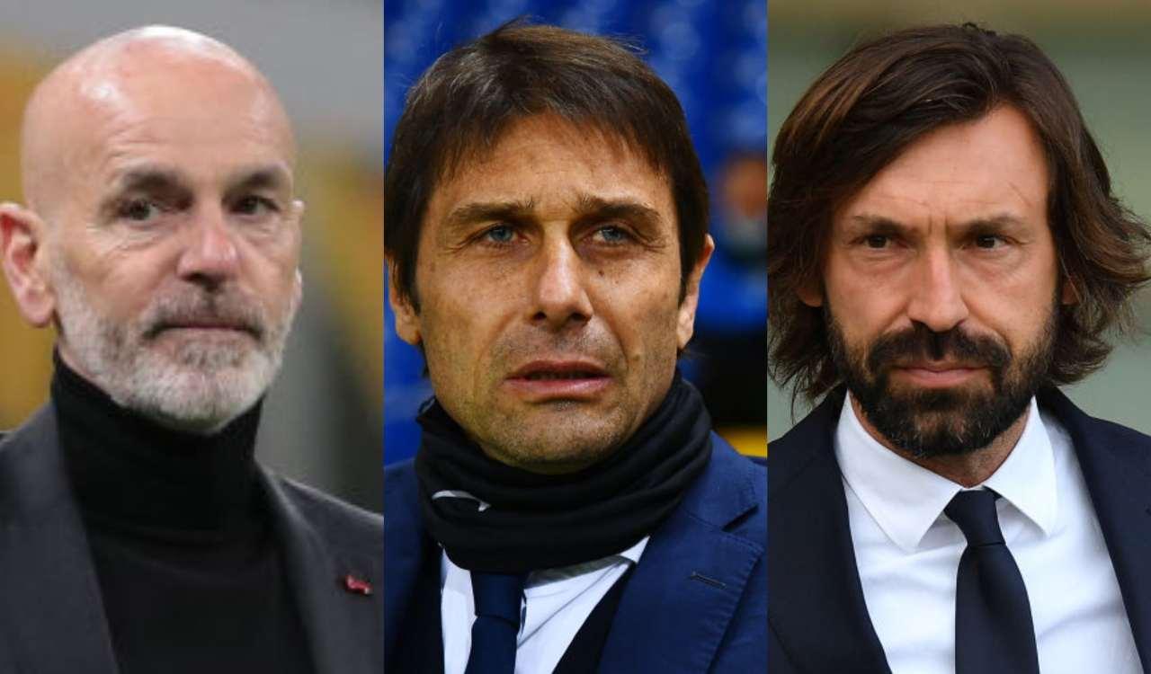 I tecnici di Juventus Inter e Milan