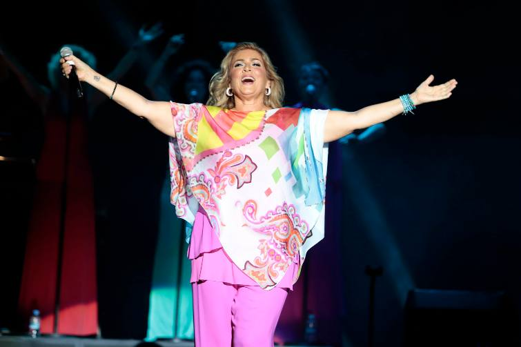 Romina Power durante un concerto