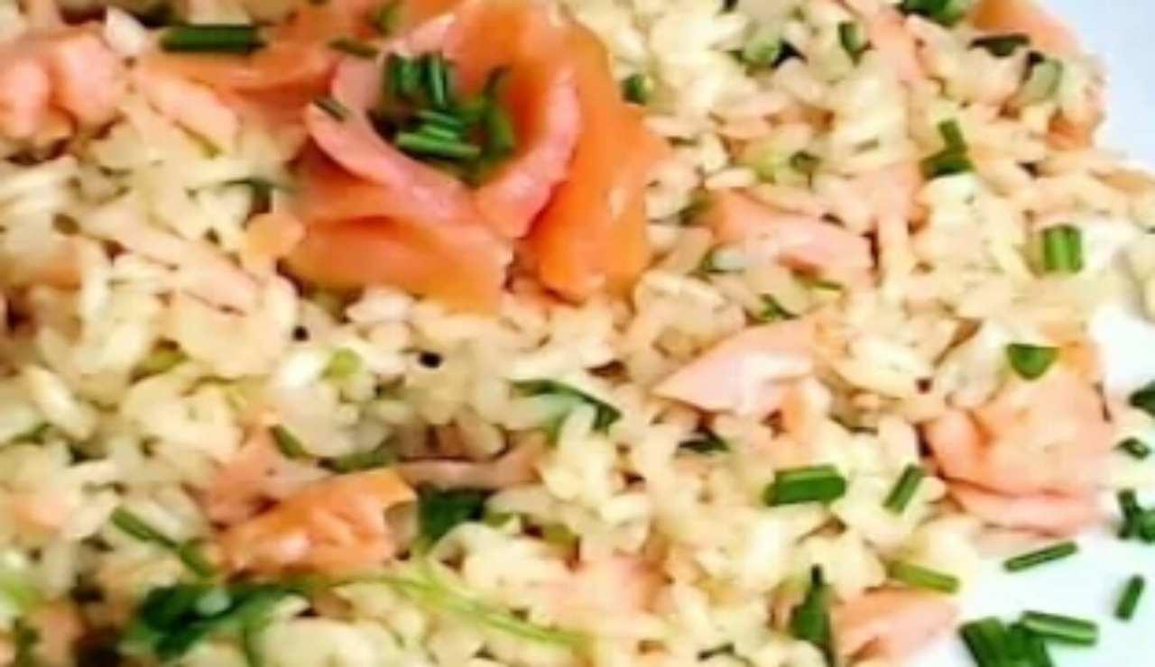 riso salmone e zucchine