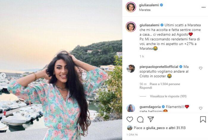 Giulia Salemi post Instagram