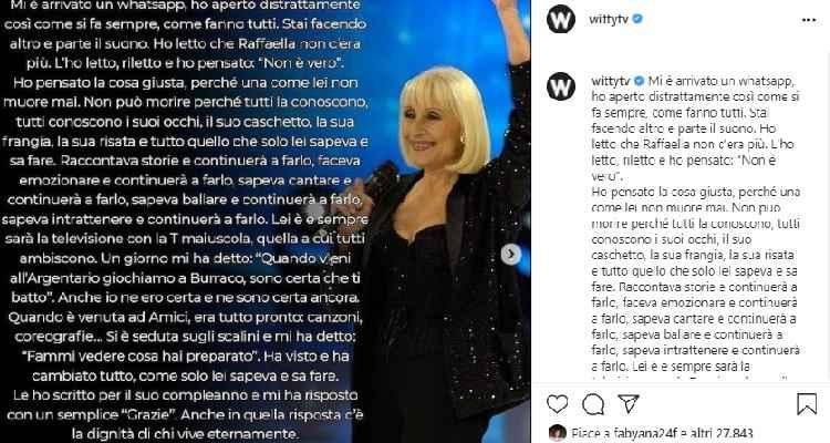 Maria De Filippi dedica a Raffaella Carrà