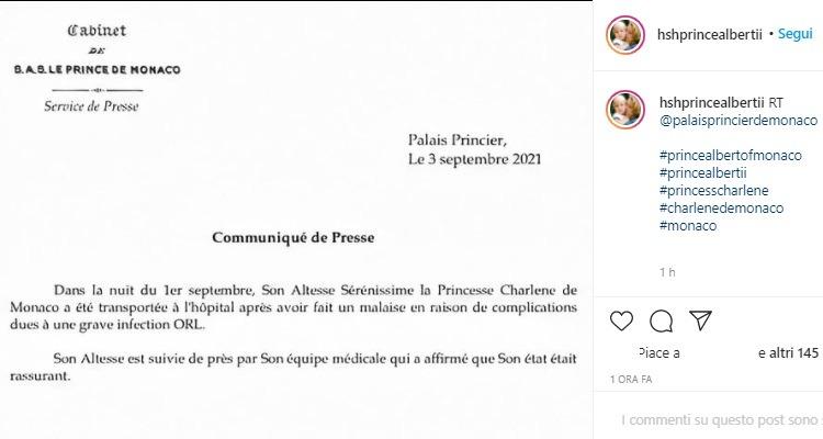 Messaggio Principe Alberto condizioni moglie