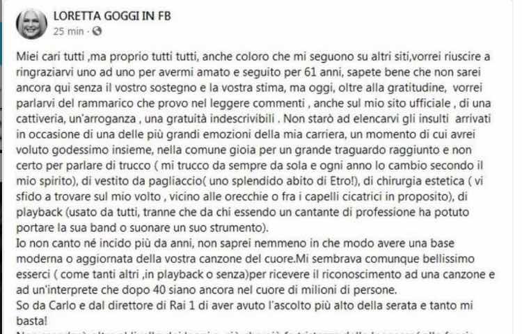 Post Facebook Loretta Goggi