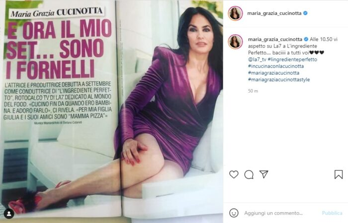 Maria Grazia Cucinotta post Instagram